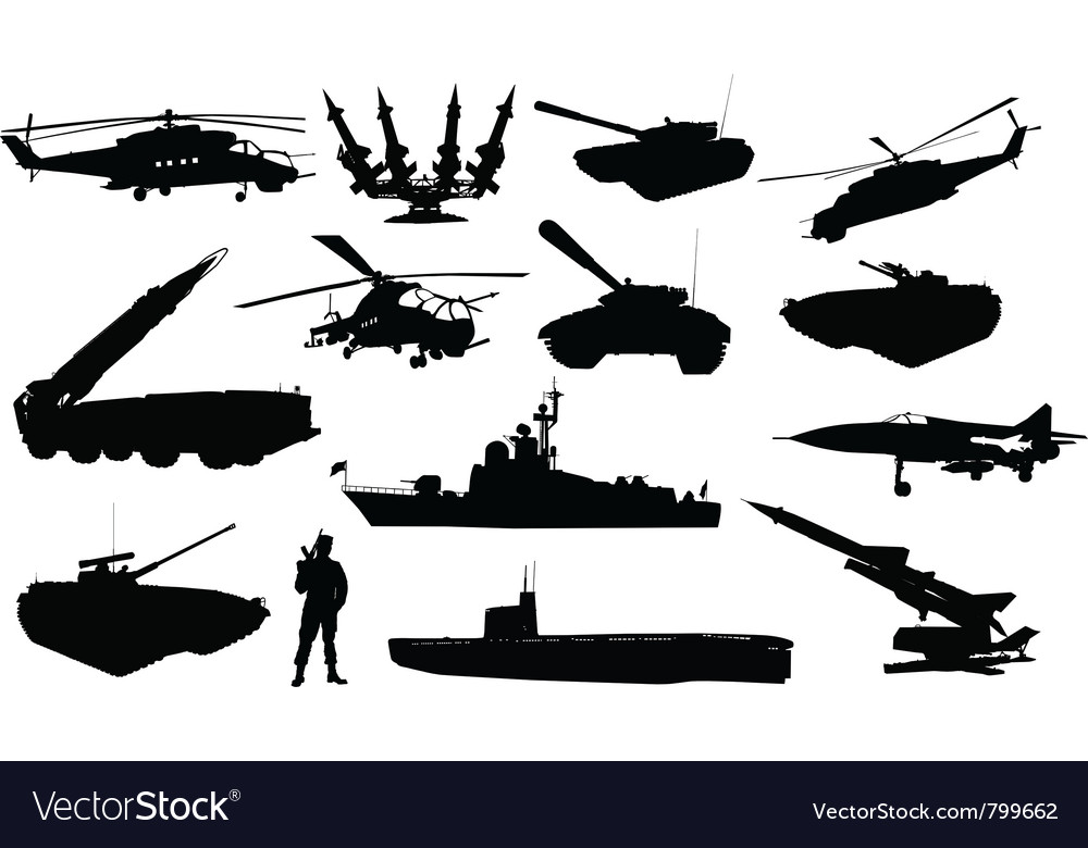 Military silhouettes vector | Price: 1 Credit (USD $1)