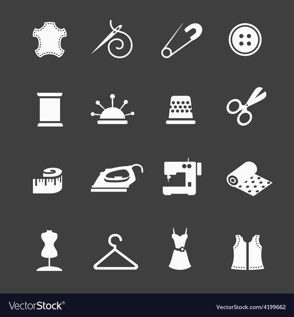 Sewing equipment and needlework icon set vector | Price: 1 Credit (USD $1)