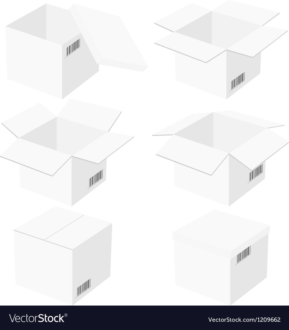 Six boxes isolated on black background vector | Price: 1 Credit (USD $1)