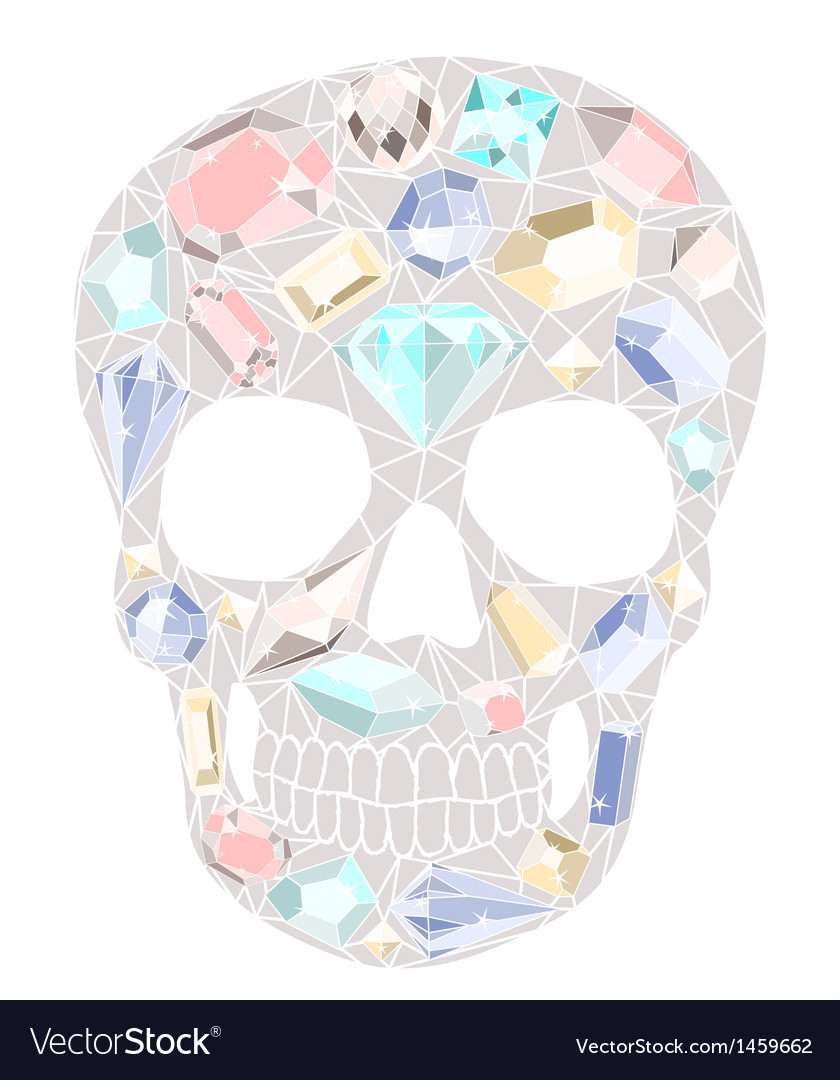 Skull with gemstones pattern vector | Price: 1 Credit (USD $1)