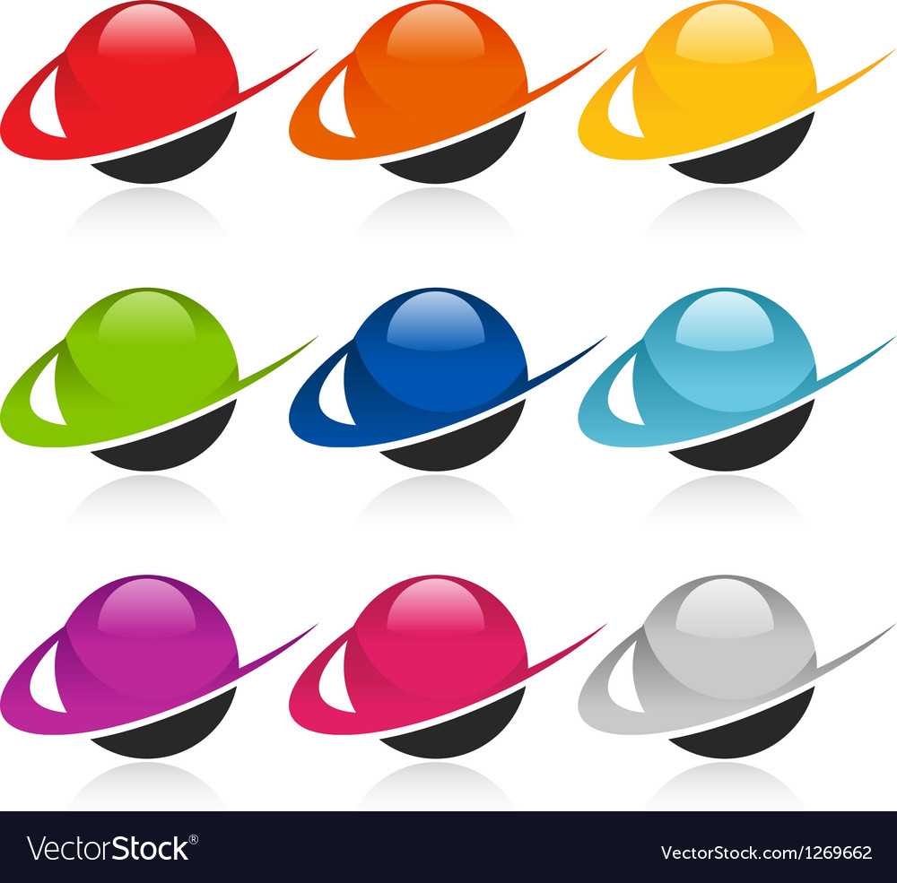 Swoosh colorful sphere logo icons vector | Price: 1 Credit (USD $1)