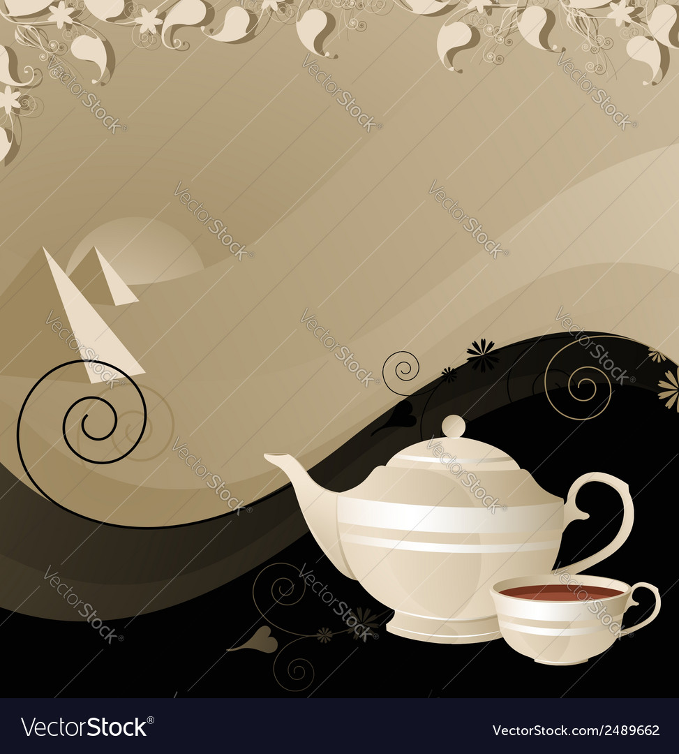 Teapot and cup on the background of the desert vector | Price: 1 Credit (USD $1)