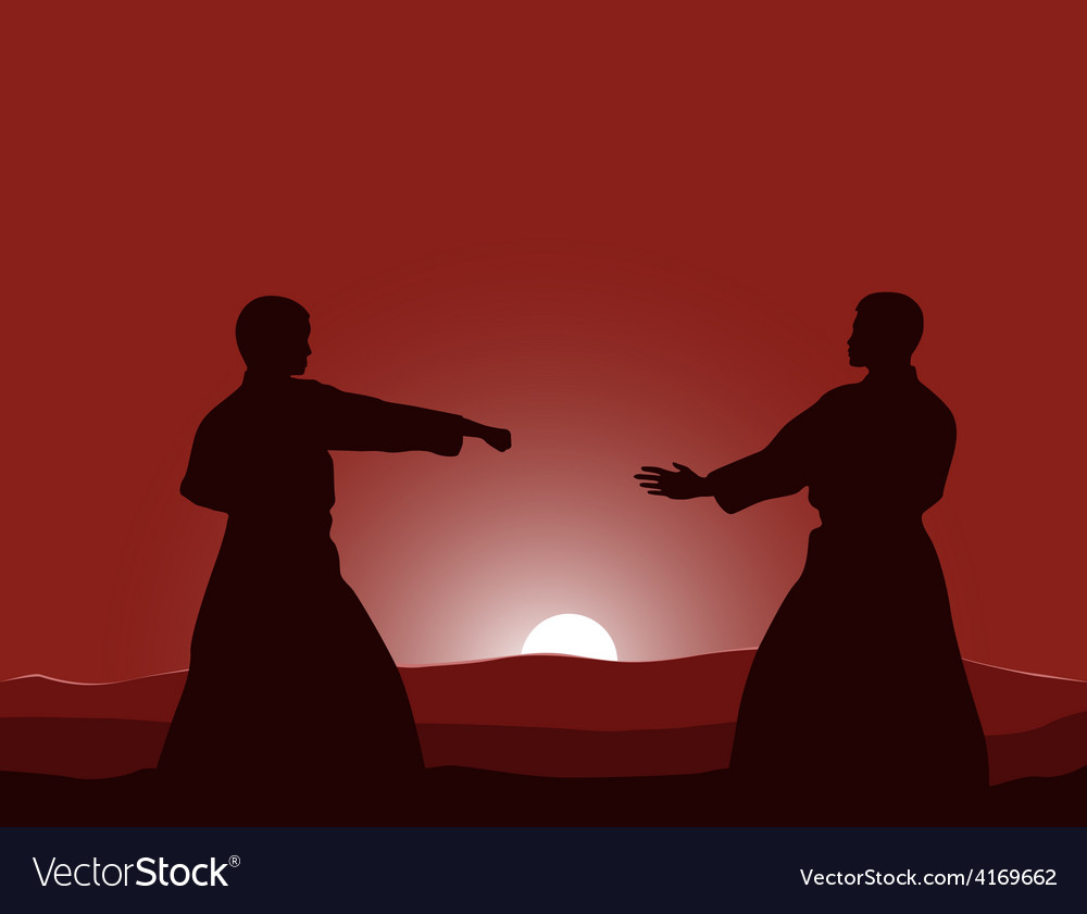 Two men are engaged in karate at sunset the sun vector   Price: 1 Credit (USD $1)