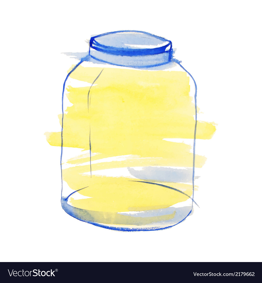 Watercolor blue and yellow jar vector | Price: 1 Credit (USD $1)