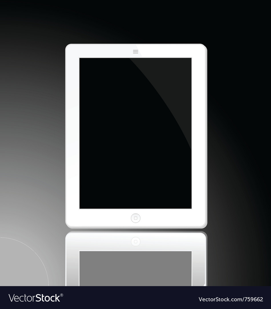 White horizontal computer tablet vector | Price: 1 Credit (USD $1)