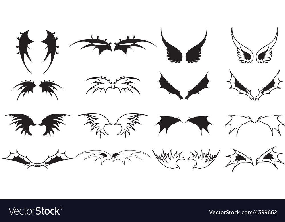 Wings icons set vector | Price: 3 Credit (USD $3)