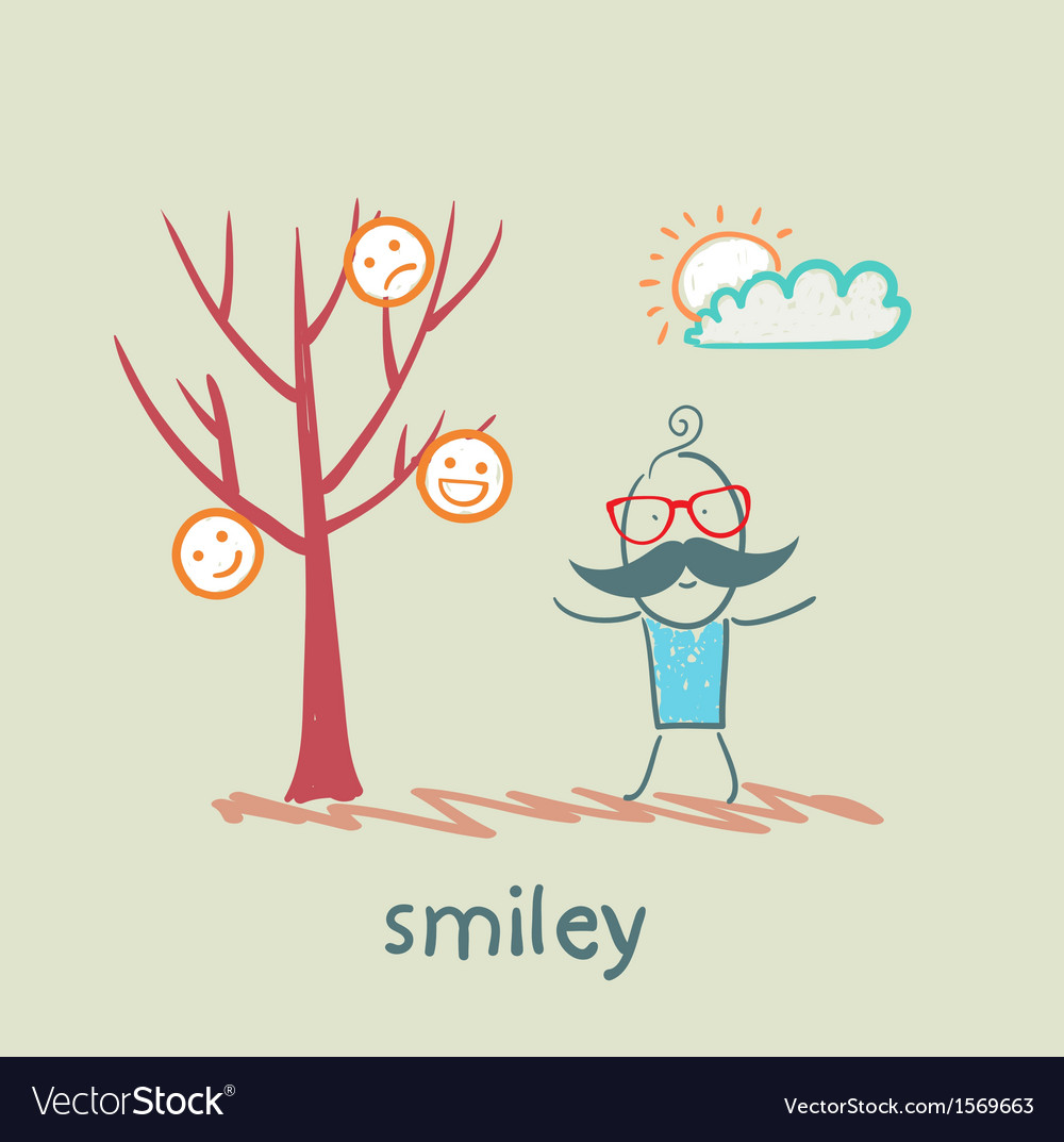 A man stands next to a tree on which grow smilies vector | Price: 1 Credit (USD $1)