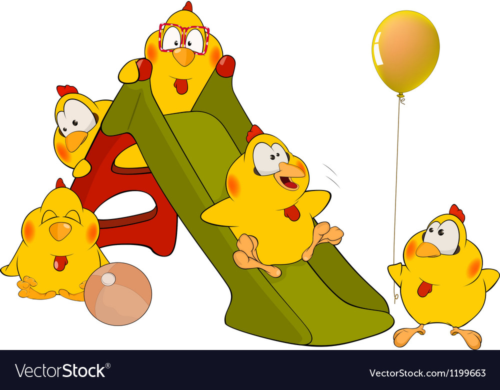 Chickens and a slide cartoon vector | Price: 1 Credit (USD $1)