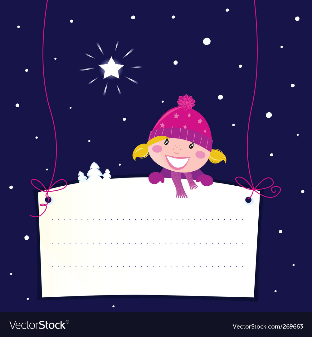 Christmas girl holding banner vector | Price: 1 Credit (USD $1)