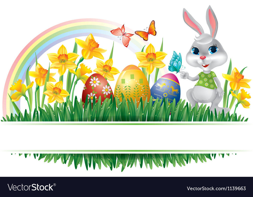 Easter horizontal frame vector | Price: 3 Credit (USD $3)