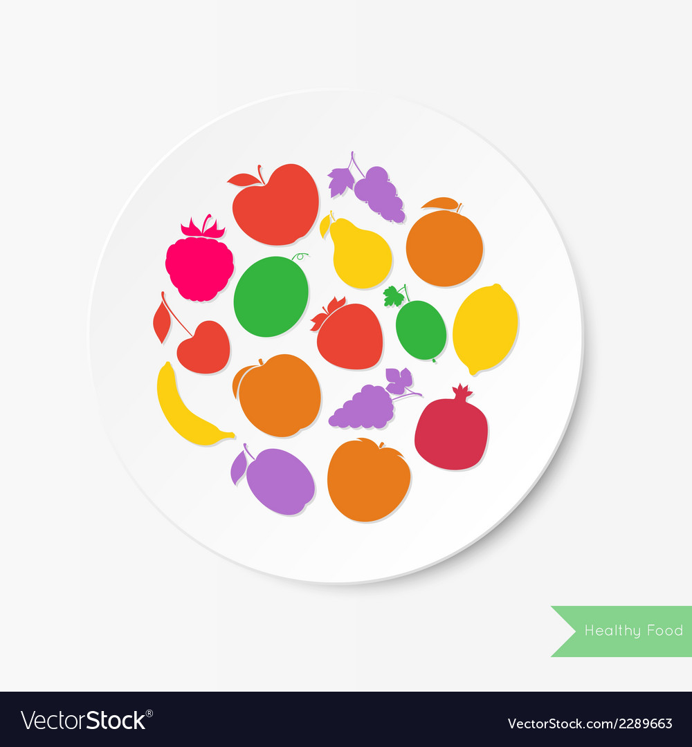 Fruit plate healthy food vector | Price: 1 Credit (USD $1)