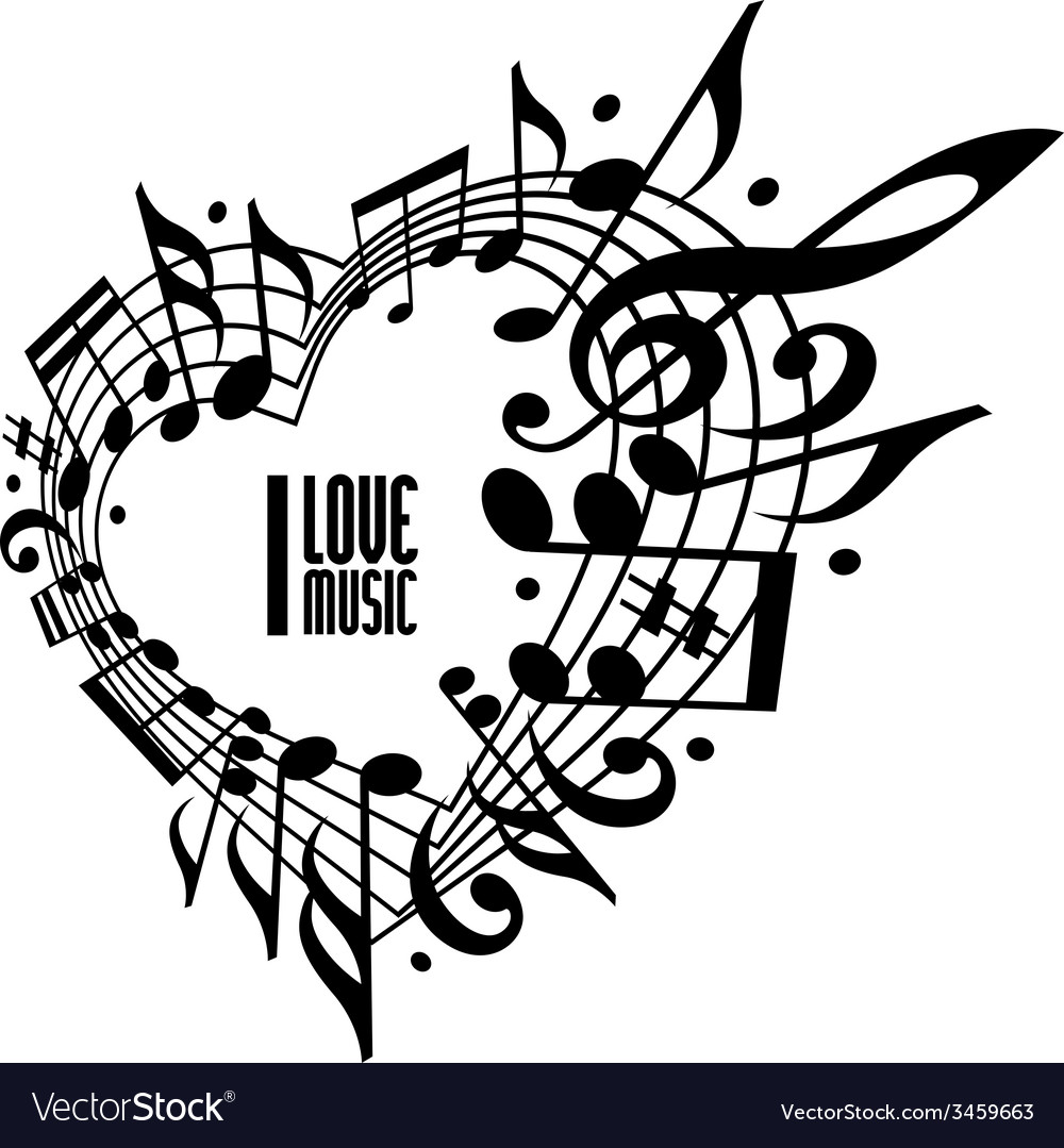 I love music concept black and white design vector | Price: 1 Credit (USD $1)