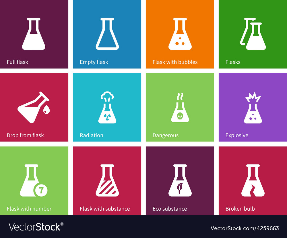 Medicine flask icons on color background vector | Price: 1 Credit (USD $1)