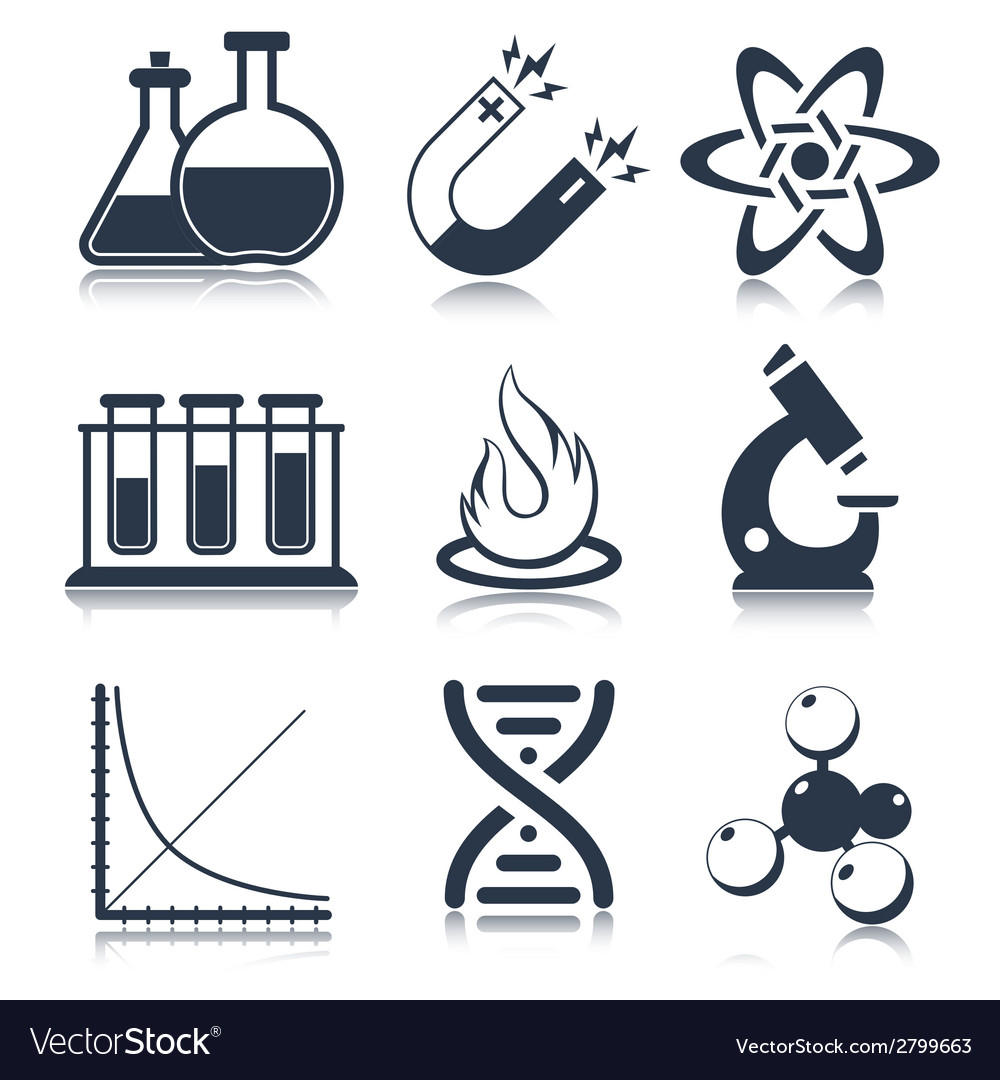Physics science icons vector | Price: 1 Credit (USD $1)