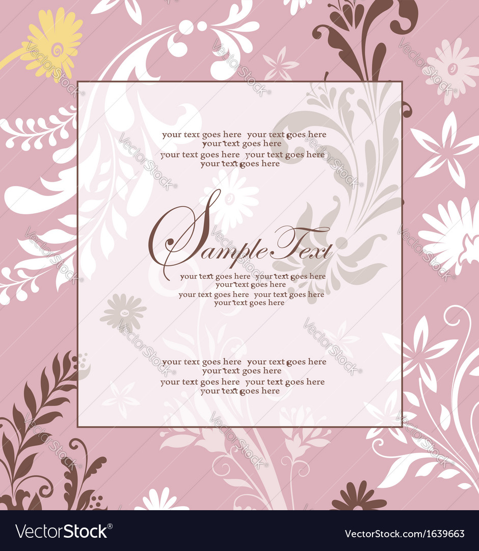 Pink floral abstract invitation card vector | Price: 1 Credit (USD $1)