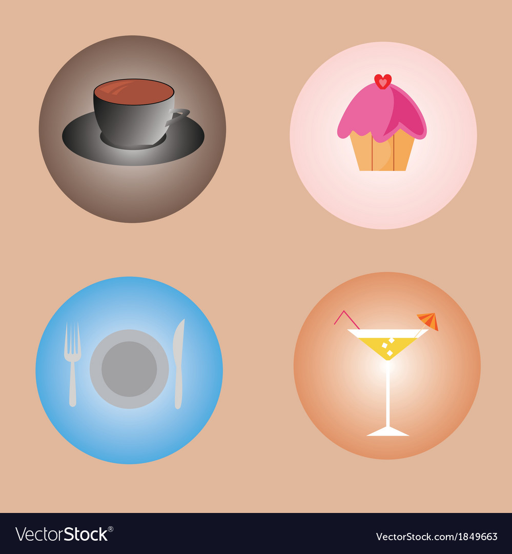 Set of drinks and food vector | Price: 1 Credit (USD $1)