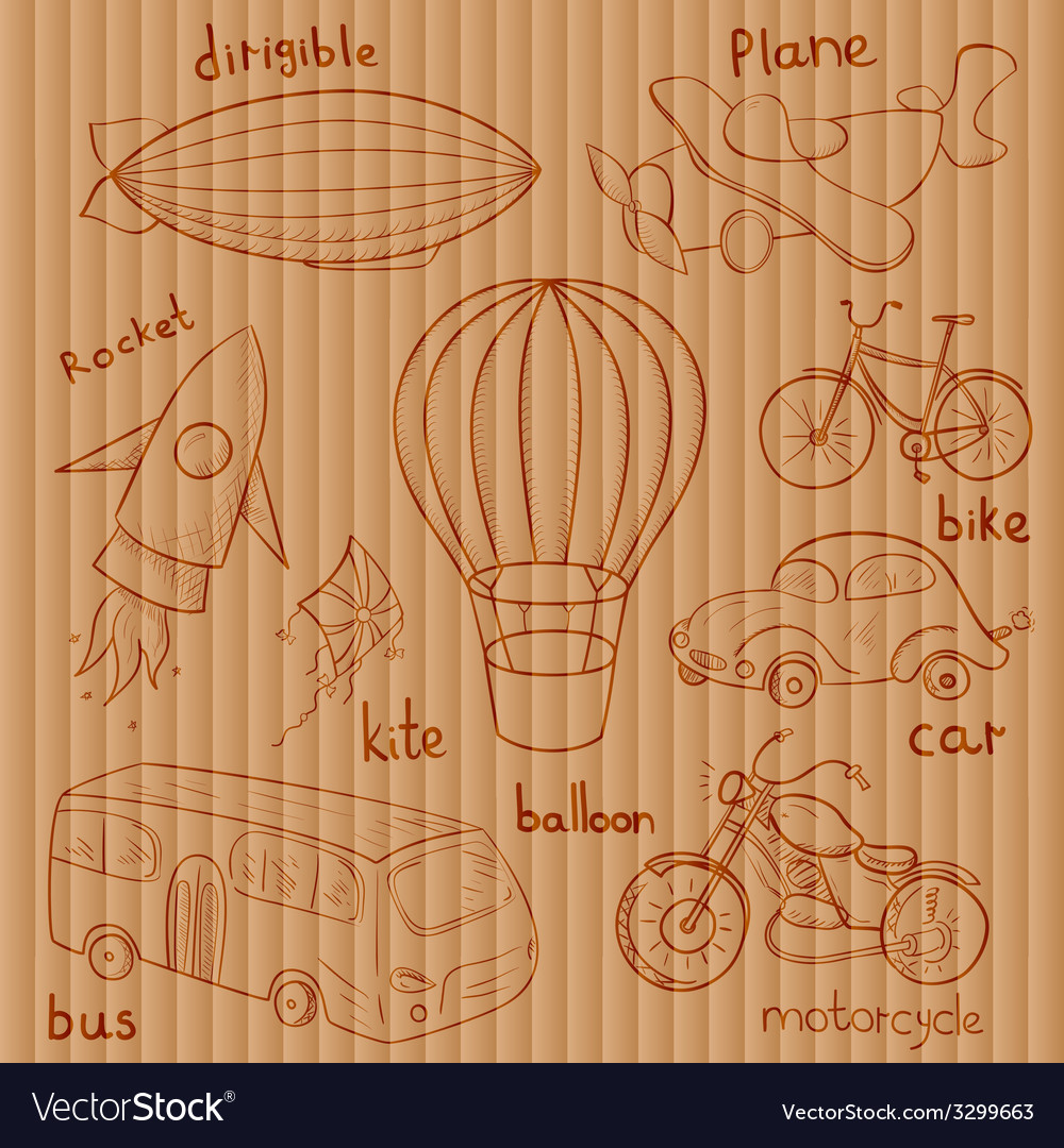 Sketches means of transport vector | Price: 1 Credit (USD $1)
