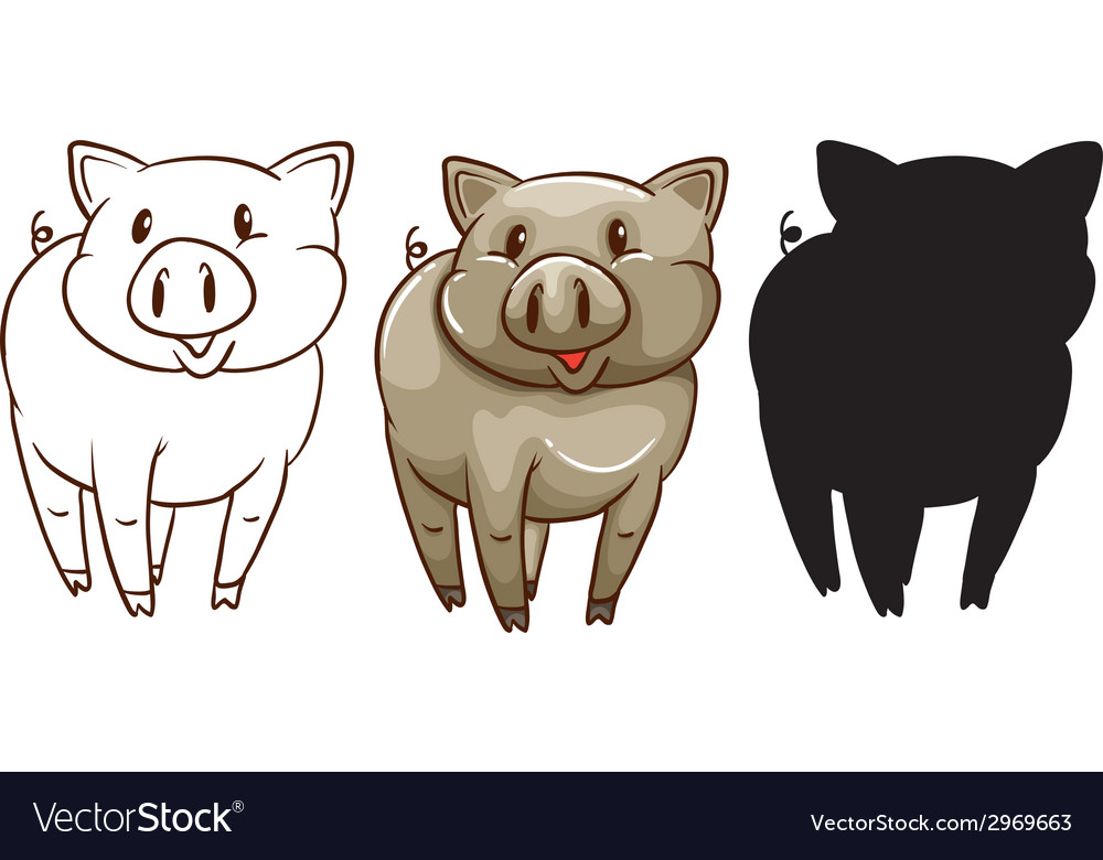 Sketches of a pig vector | Price: 1 Credit (USD $1)