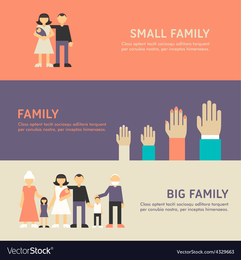 Small family family and big family walk flat vector | Price: 1 Credit (USD $1)