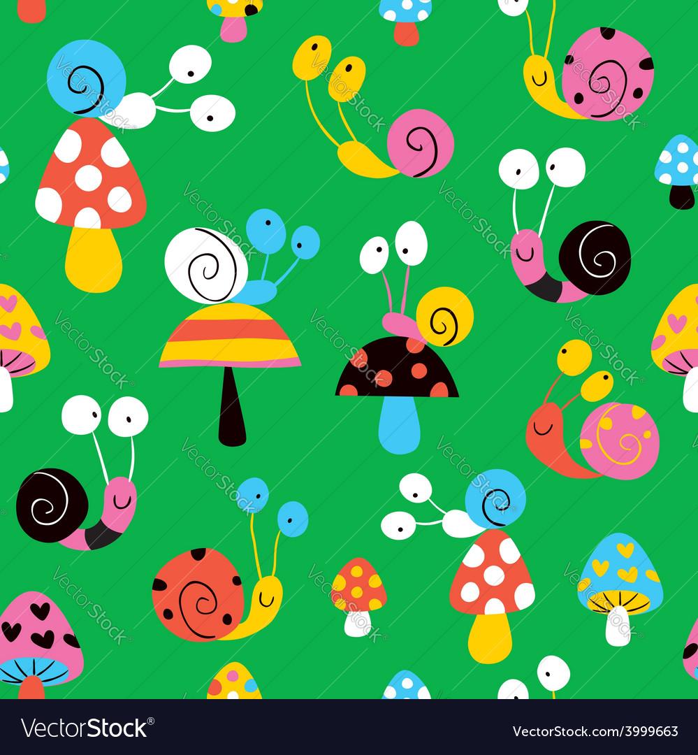 Snails mushrooms pattern vector | Price: 1 Credit (USD $1)