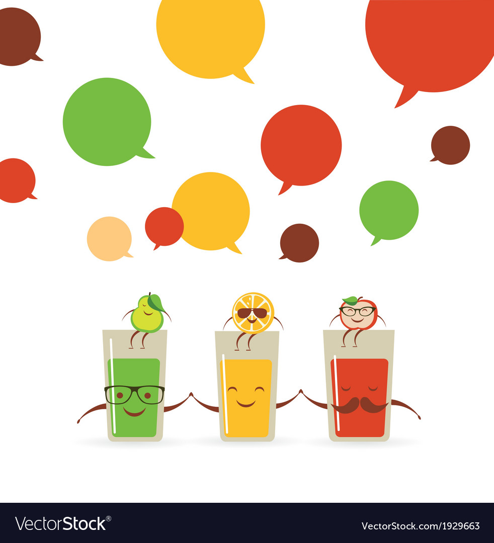Tasty fresh squeezed hipster glasses of juices vector | Price: 1 Credit (USD $1)