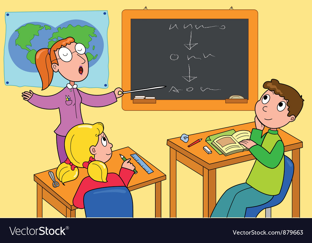 Teacher and pupils in a classroom vector | Price: 1 Credit (USD $1)