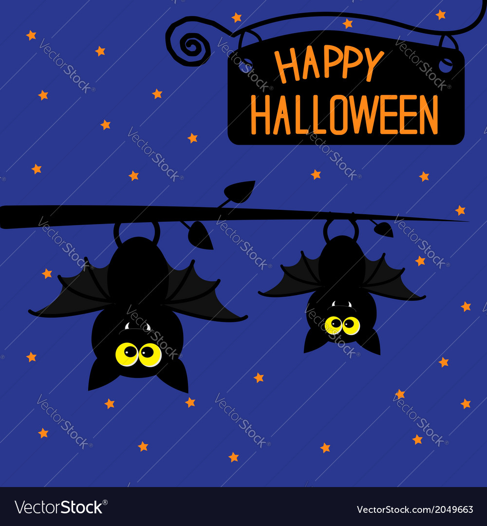 Two hanging bats at night halloween card vector | Price: 1 Credit (USD $1)