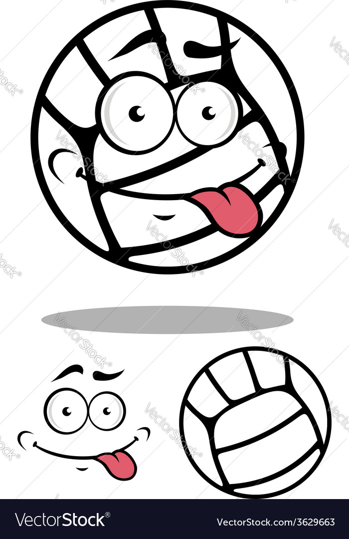 White cartoon volleyball ball vector | Price: 1 Credit (USD $1)