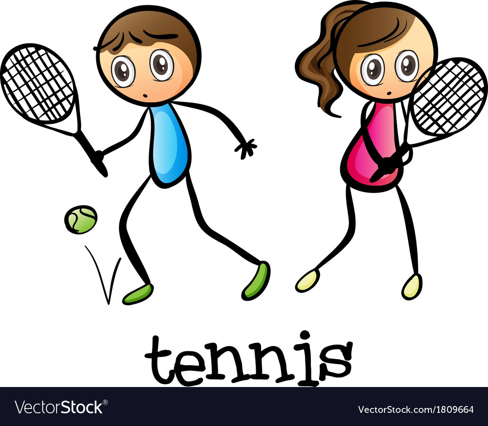 A girl and a boy playing tennis vector | Price: 1 Credit (USD $1)