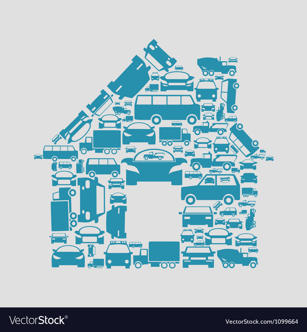 Car the house vector | Price: 1 Credit (USD $1)