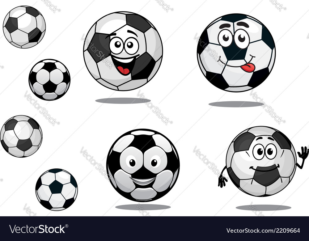 Cartoon soccer or football balls vector | Price: 1 Credit (USD $1)
