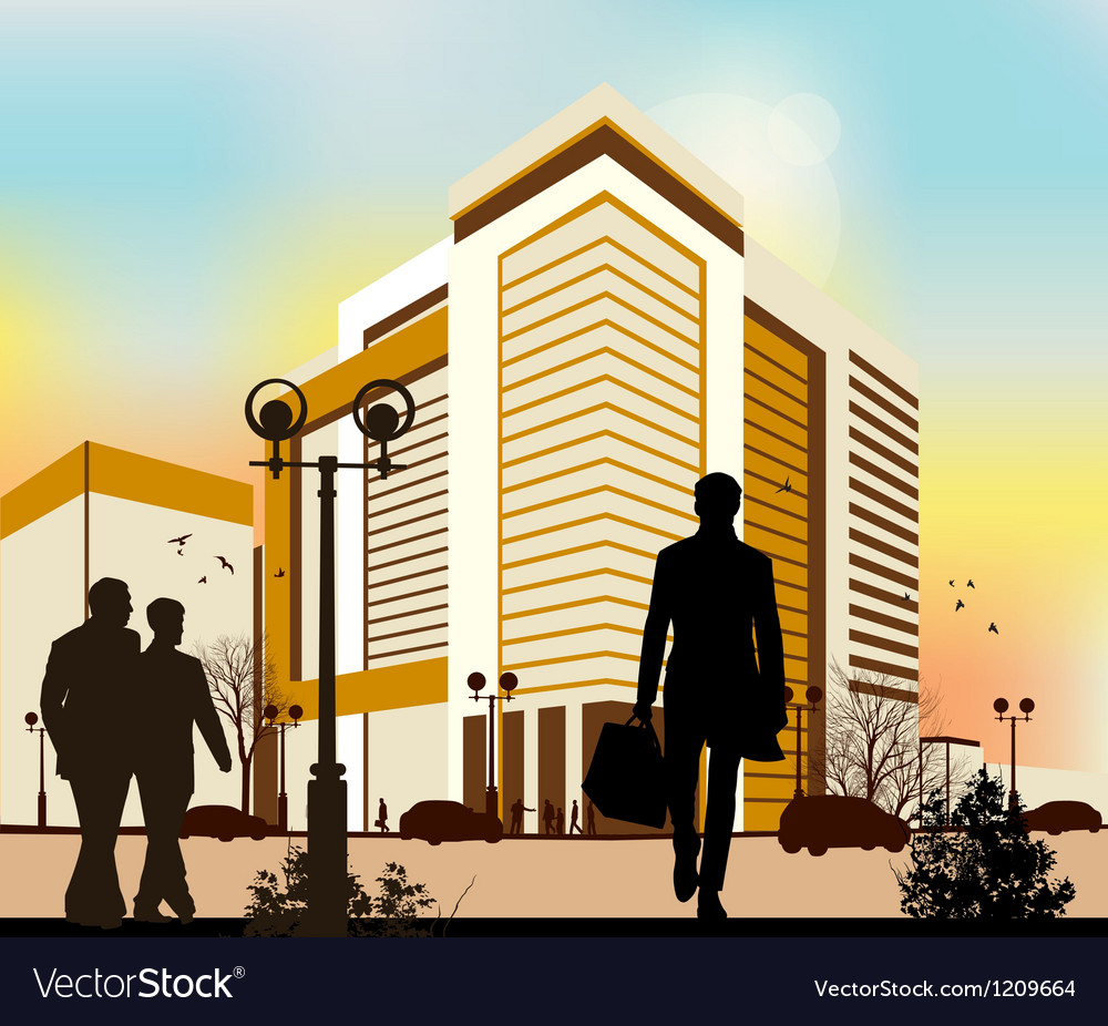City silhouettes in yellow colors vector | Price: 1 Credit (USD $1)