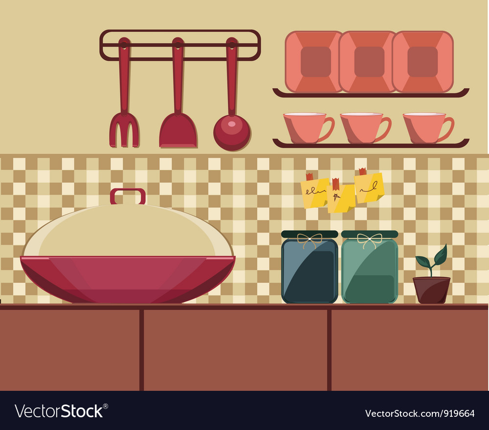 Cooking set in a kitchen vector | Price: 1 Credit (USD $1)
