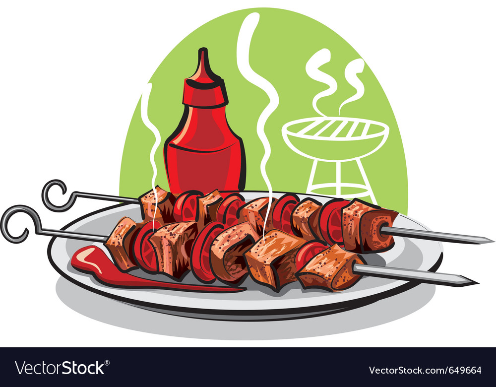 Grilled meat and ketchup vector | Price: 3 Credit (USD $3)