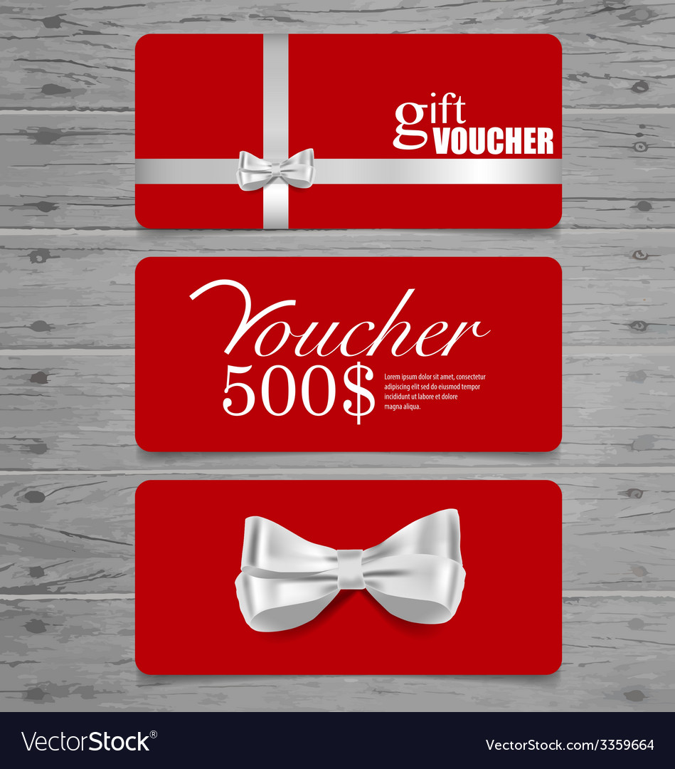 Holiday gift coupons with gift bows and ribbons vector | Price: 1 Credit (USD $1)