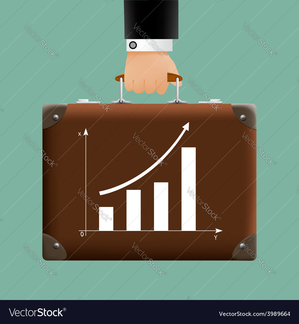Man in a suit holding a brown briefcase vector   Price: 1 Credit (USD $1)