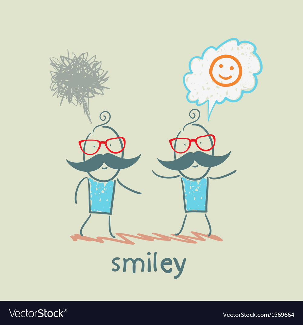 One thinks about smileys the other person sad vector | Price: 1 Credit (USD $1)