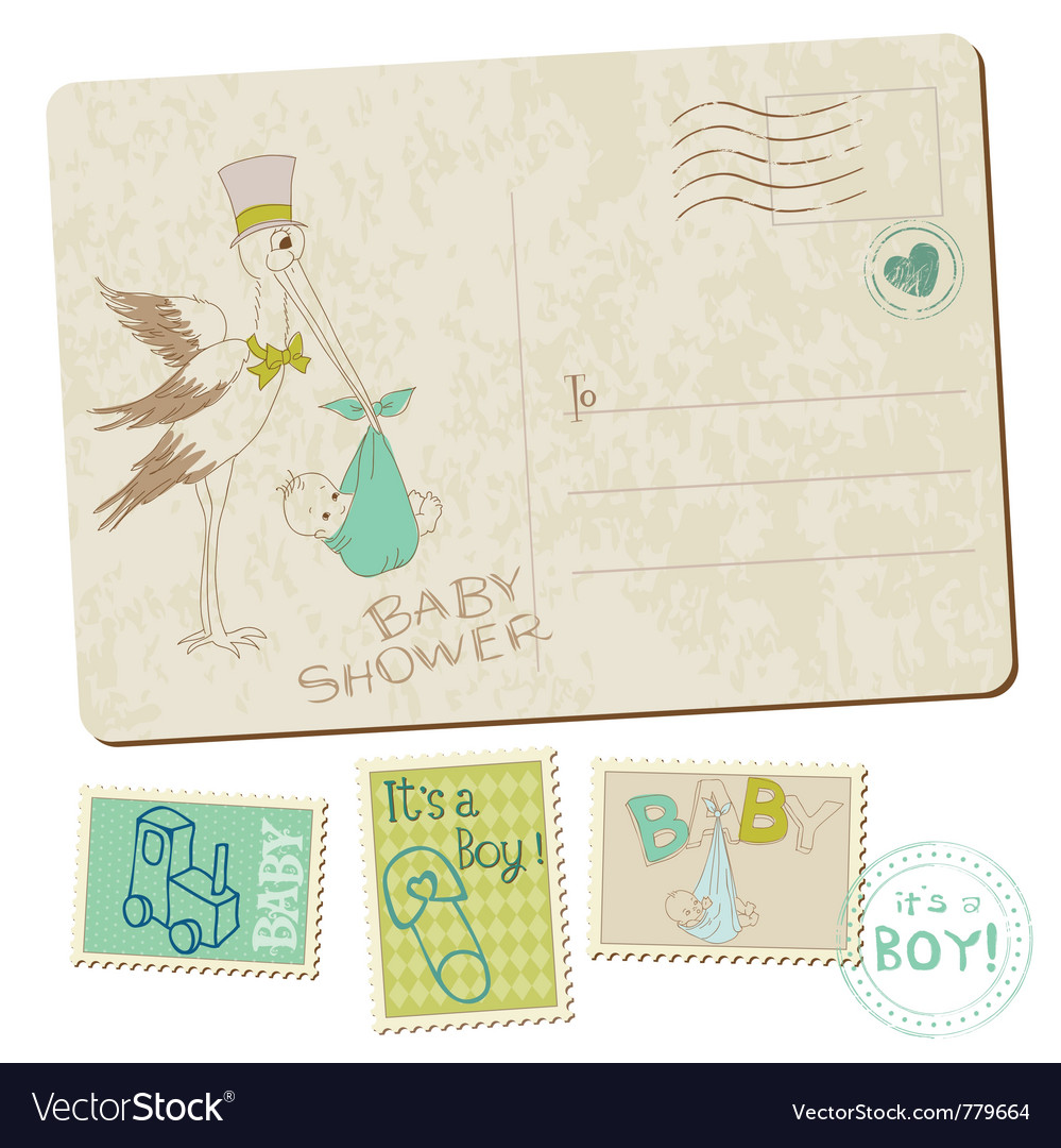 Vintage baby boy shower vector | Price: 1 Credit (USD $1)