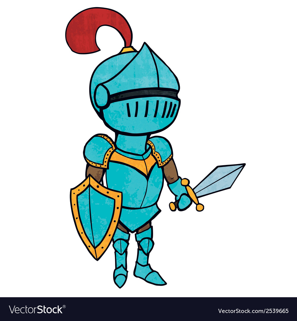 Cartoon knight in armour with sword and shield vector | Price: 1 Credit (USD $1)