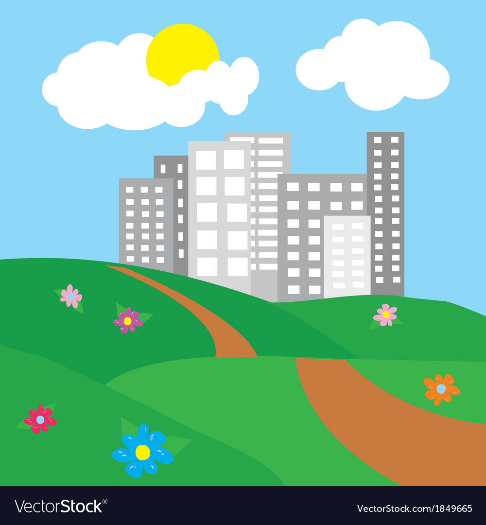 City surrounded by nature landscape vector | Price: 1 Credit (USD $1)