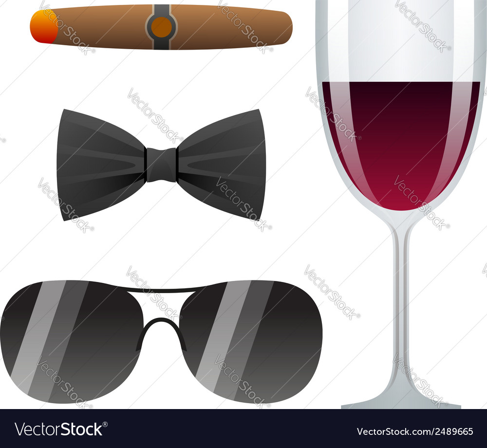 Dolce vita with cigar glass of wine bow tie and vector | Price: 1 Credit (USD $1)