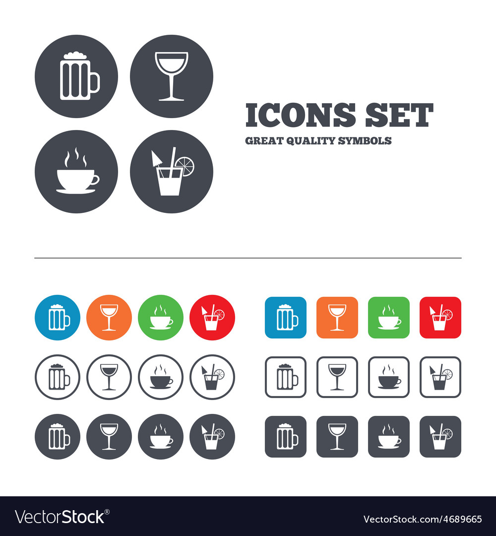 Drinks signs coffee cup glass of beer icons vector | Price: 1 Credit (USD $1)