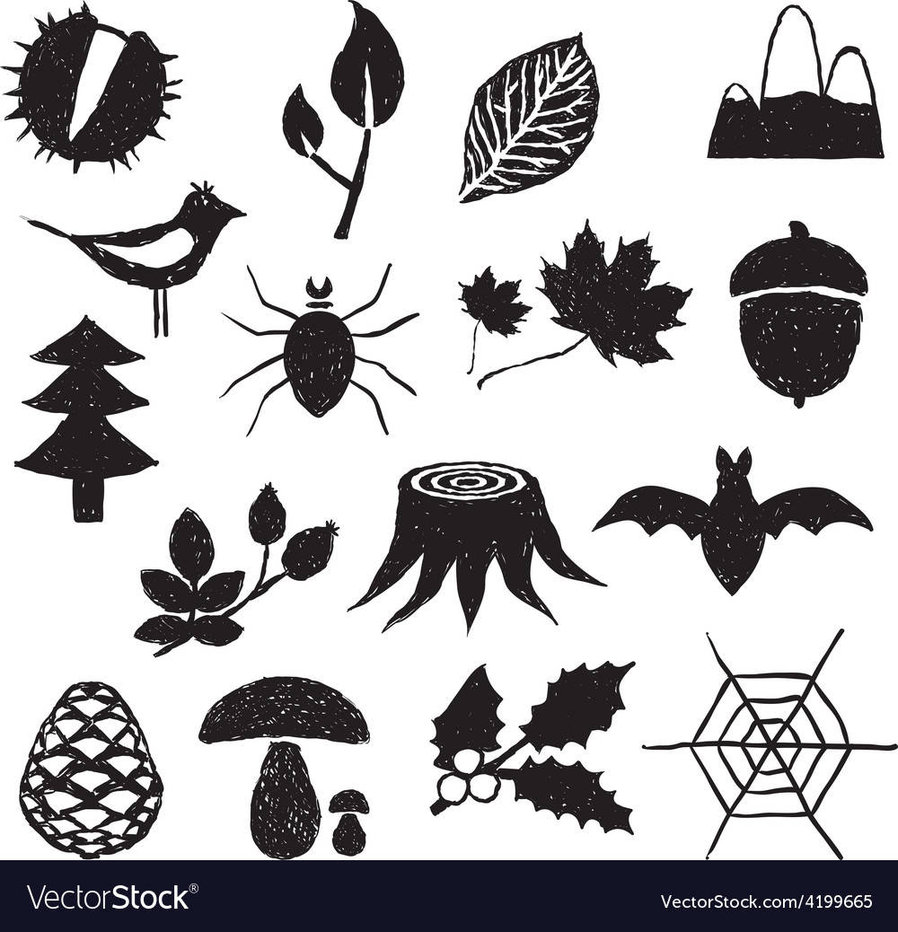 Forest doodle images vector | Price: 1 Credit (USD $1)