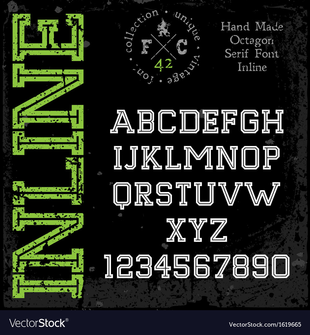 Handmade retro font slab serif inline type vector | Price: 1 Credit (USD $1)