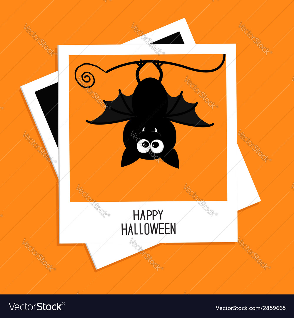 Instant photo with bat happy halloween card flat vector | Price: 1 Credit (USD $1)