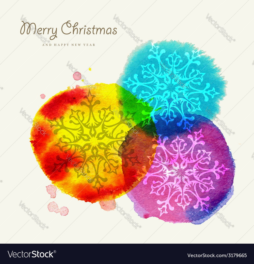 Merry christmas watercolor greeting card vector | Price: 1 Credit (USD $1)