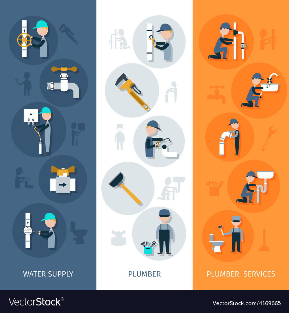 Plumber vertical banner vector | Price: 1 Credit (USD $1)
