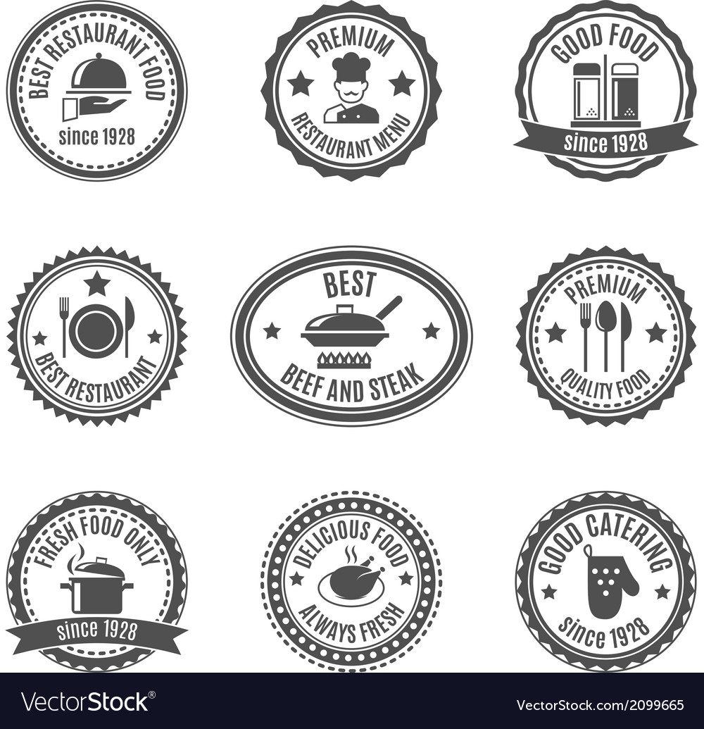Restaurant label set vector | Price: 1 Credit (USD $1)