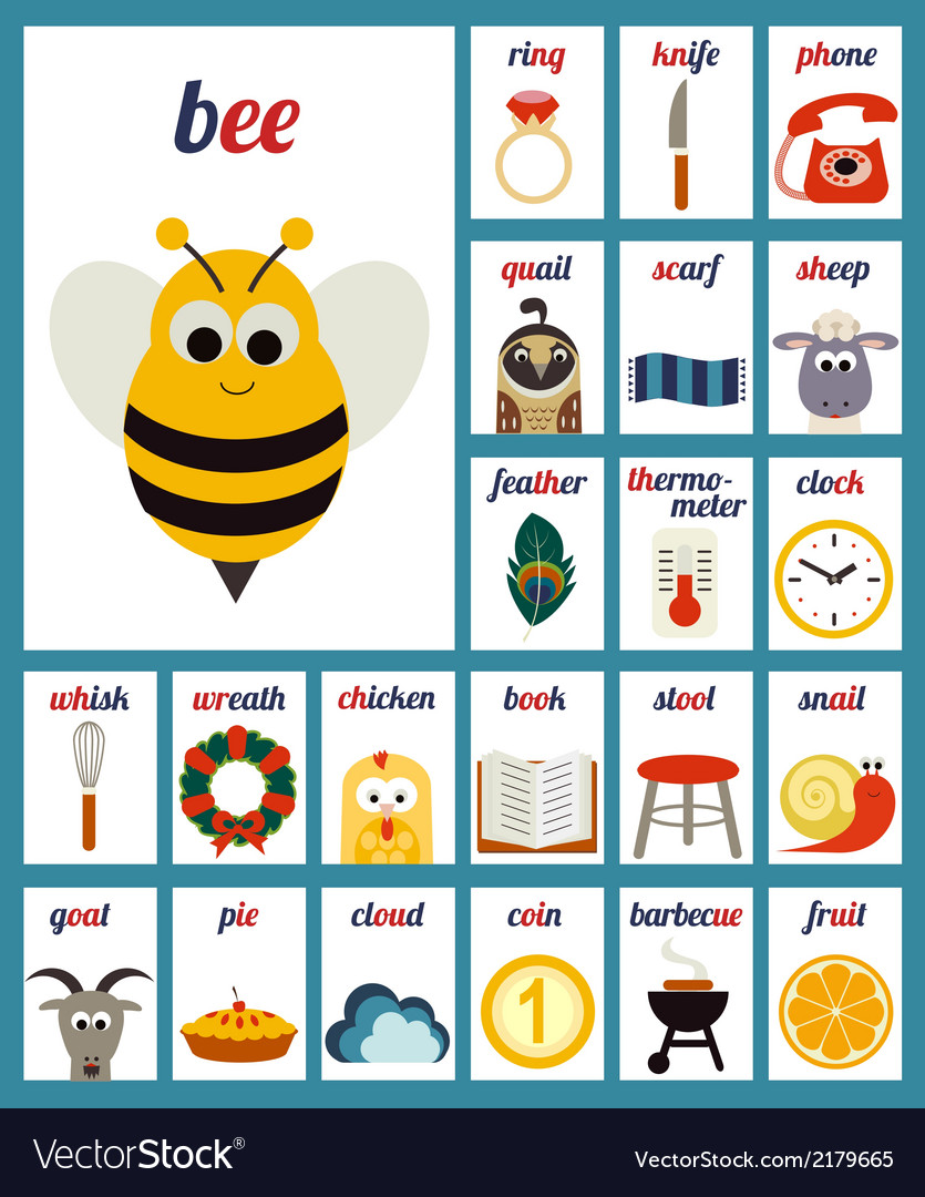 Set of cards with alphabet phonemes vector | Price: 1 Credit (USD $1)
