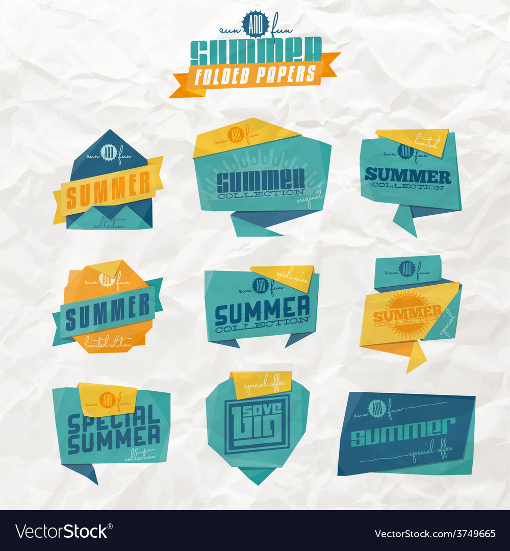 Summer origami labels vector | Price: 1 Credit (USD $1)